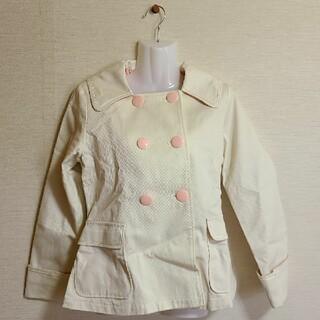 ハートイー(Heart E)の白×ピンク セーラーコート(トレンチコート)