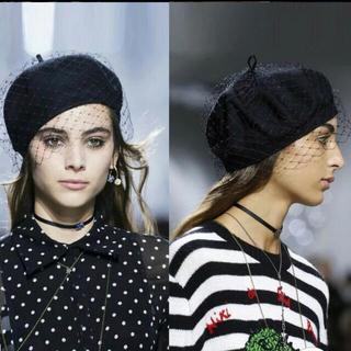 シャネル(CHANEL)のチュールレース付きベレー帽  ベレー帽(ハンチング/ベレー帽)