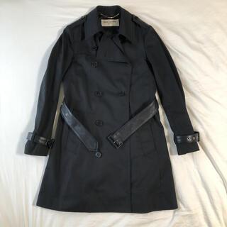 Saint Laurent - サンローランパリ トレンチコート ブラック レザー ニット ジャケット Sサイズ