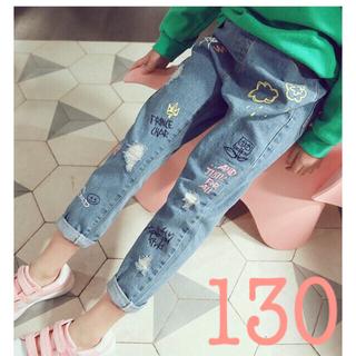 新品 130 韓国 子供 女の子 デニム ジーンズ キッズ ズボン 可愛い 人気(パンツ/スパッツ)