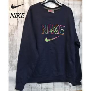 NIKE - NIKEナイキエアーAirスウェットトレーナー刺繍ロゴ90s古着 紺ネイビー古着