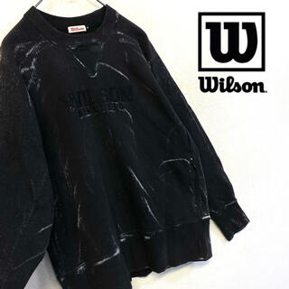 ウィルソン(wilson)の美品 Wilson スウェット 刺繍ロゴトレーナー ブリーチ加工(スウェット)