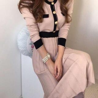 ♥人気!♥ リボンベルト付き ロング ワンピース プリーツ ピンク 韓国