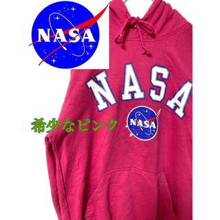 NASA 希少 ピンク パーカー パキスタン製 古着 裏地グレー 90s(パーカー)