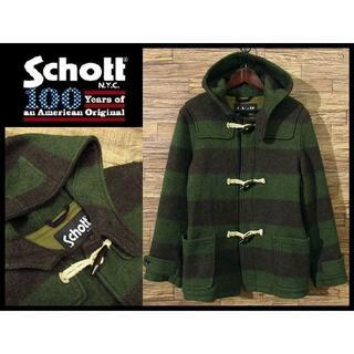 ショット(schott)の希少カラー ショット 100周年記念 ウール ボーダー ダッフル コート 緑 L(ダッフルコート)