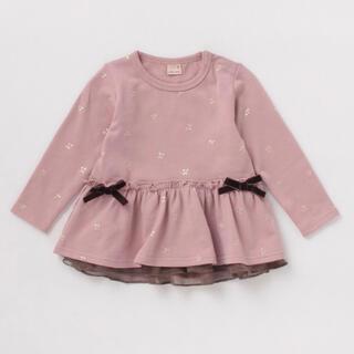 プティマイン(petit main)のプティマイン 110 裏毛 箔プリントチェリー柄チュニックトレーナー(Tシャツ/カットソー)