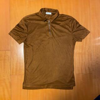ザラ(ZARA)のZARAジップポロシャツ ベロア風 ブラウン(ポロシャツ)