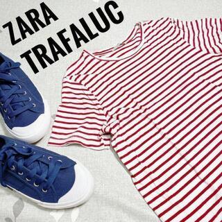 アルチュザラ(Altuzarra)のザラ レッド✖ホワイト ボーダーライン 半袖 Tシャツ Mサイズ(Tシャツ(半袖/袖なし))