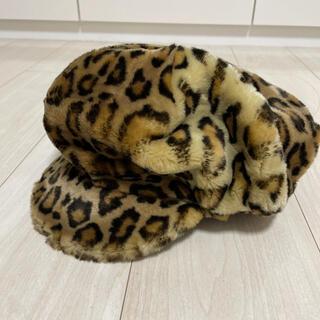 ザラ(ZARA)のフランス製 ヒョウ柄 ハンチング 帽子 アニマル レオパード キャップ(キャップ)