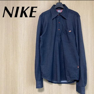 ナイキ(NIKE)のNIKE ナイキ メンズ L デニム風 長袖ポロシャツ ロンT トップス(ポロシャツ)