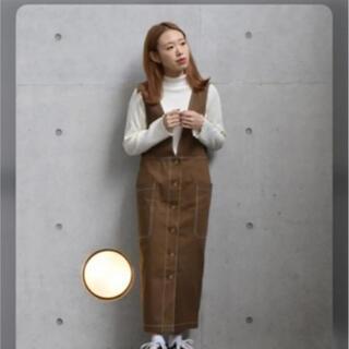 ダブルクローゼット(w closet)のコットンツイル前ボタンジャンスカ(ひざ丈ワンピース)