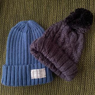 ジーユー(GU)のぱんだすき様専用*左側ブルーニット帽(ニット帽/ビーニー)
