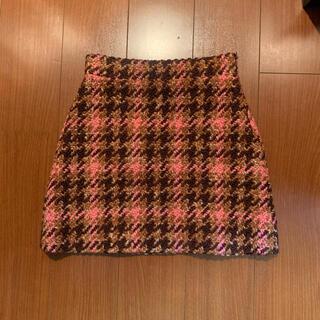 ミュウミュウ(miumiu)のmiumiu ミニスカート チェック ブラウン ピンク(ミニスカート)