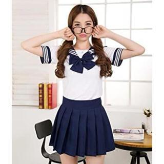 セーラー服 制服 コスプレ リボン 紺色 ミニスカ 韓国 JK アイドル 衣装(衣装一式)
