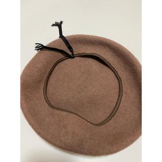 スナイデル(snidel)の【SNIDEL】ベレー帽 ベージュ 紐付き(ハンチング/ベレー帽)