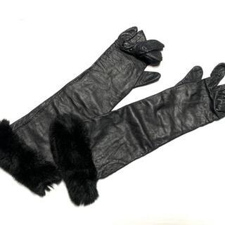 ランバン(LANVIN)のランバン 手袋 レディース - 黒 レザー(手袋)
