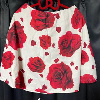 ダチュラ(DaTuRa)のDaTuRa ローズフレアスカート 薔薇 ホワイト rady(ひざ丈スカート)