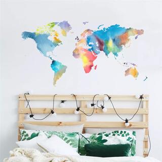 世界地図 ウォールシール ワールド 水彩画 レインボー 壁 扉 インテリア 雑貨(ウェルカムボード)