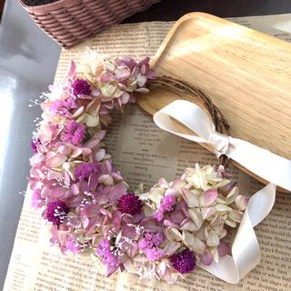 N EN様専用 水無月紫陽花の三日月リース    ドライフラワーリース(ドライフラワー)