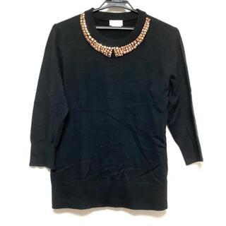 ケイトスペードニューヨーク(kate spade new york)のケイトスペード 七分袖セーター サイズL 黒(ニット/セーター)