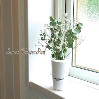 【花瓶なし】かすみ草とユーカリのドライフラワー ミニスワッグ インテリア雑貨(ドライフラワー)