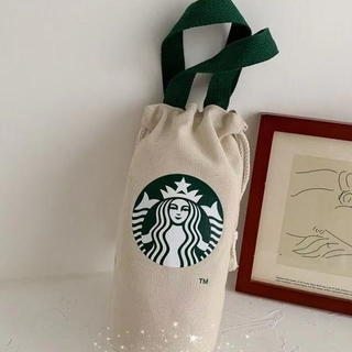 スターバックスコーヒー(Starbucks Coffee)の【スターバックス】 ミニキャンバスバッグ 巾着バッグ ベージュ(トートバッグ)