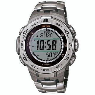 カシオ(CASIO)のカシオ プロトレック チタンバンド 電波ソーラーモデル 腕時計 シルバー(腕時計(デジタル))