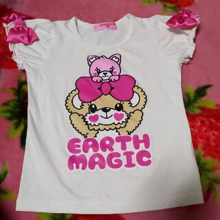 アースマジック(EARTHMAGIC)の130(*ˊૢᵕˋૢ*)袖リボンTシャツ(Tシャツ/カットソー)