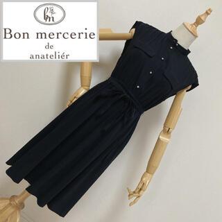Bon merceie - ボンメルスリー ノースリーブシャツワンピース ブラック