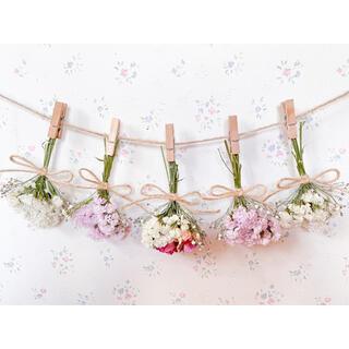 3種のピンクのバラとかすみ草のホワイトドライフラワーガーランド♡スワッグ♡ブーケ(ドライフラワー)