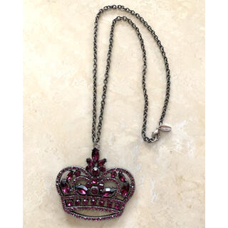 パープルカラーストーンペンダントクラウン(王冠)デザイン(ネックレス)