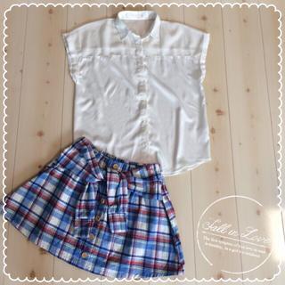 ジーユー(GU)の白のシースルートップス(シャツ/ブラウス(半袖/袖なし))
