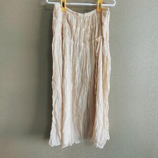 インゲボルグ(INGEBORG)のINGEBORG★ロングスカート プリーツスカート ふわふわ 白系シルクスカート(ロングスカート)