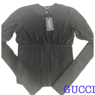 グッチ(Gucci)の値下 新品 未使用 タグ付 GUCCI グッチ トップス ブラック シースルー(カットソー(長袖/七分))