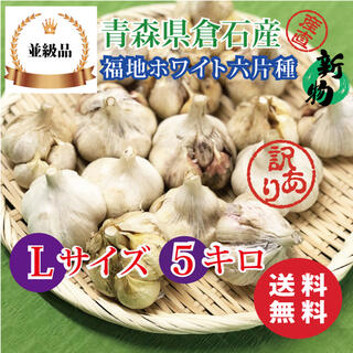 【並級品】青森県倉石産にんにく福地ホワイト六片種 Lサイズ 5kg(野菜)