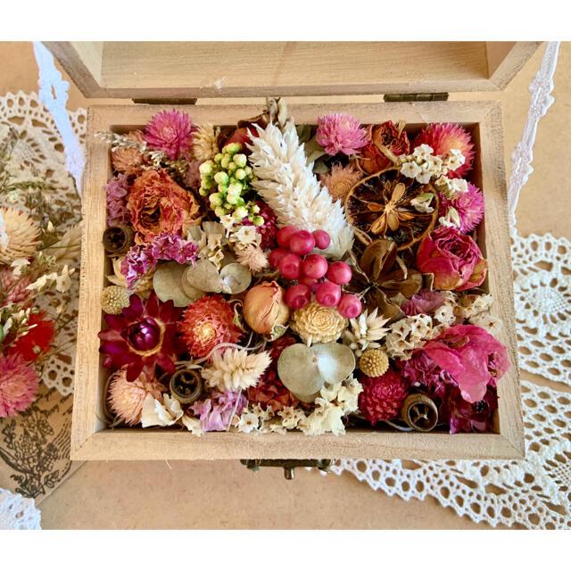 ドライフラワー スワッグとフラワーボックスの2点セット❁¨̮ピンク薔薇ローズ花束 ハンドメイドのフラワー/ガーデン(ドライフラワー)の商品写真