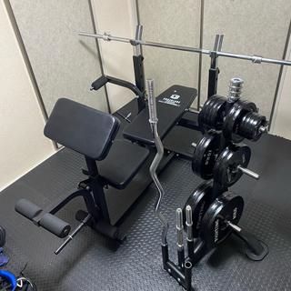 ベンチプレス(4段階調整可能) 総重量140kg バーベル ダンベル