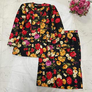 レオナール(LEONARD)の【美品】LEONARD 花柄 シルク スカートセットアップ 13AR(スーツ)