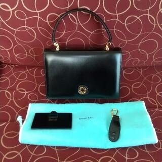 ティファニー(Tiffany & Co.)の美品 ティファニー レザー ヴィンテージ 黒 ゴールド ミラー付 ハンドバッグ (ハンドバッグ)