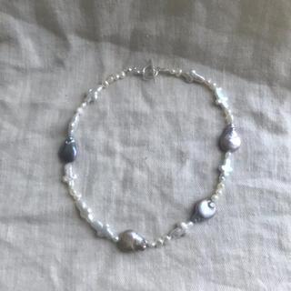 ロキエ(Lochie)のハンドメイド ネックレス マンテル 淡水パール ビーズネックレス silver(ネックレス)