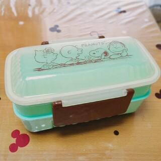 スヌーピー(SNOOPY)の新品未使用 スヌーピー ミントブルー 箸付き 2段重ね お弁当箱 ランチボックス(弁当用品)