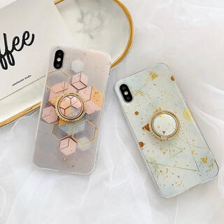 【即購入OK】ラメ リング 大理石柄 iPhoneケース(iPhoneケース)