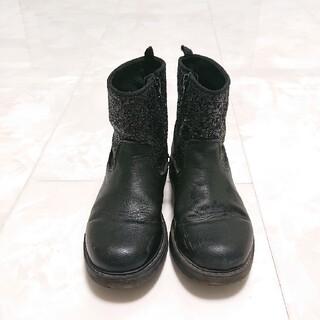 エイチアンドエム(H&M)のH&M ショート ブーツ  スパンコール 黒  ブラック(ブーツ)