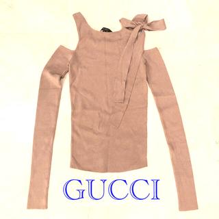 グッチ(Gucci)の値下 新品 GUCCI グッチ オープンショルダー 肩あき カットソー ベージュ(カットソー(長袖/七分))