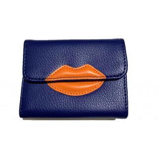 キャセリーニ(Casselini)の新品♡リップウォレット ブルー オレンジ レザー 折財布(財布)