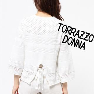 トラッゾドンナ(TORRAZZO DONNA)のTORRAZZO DONNA バックリボンニット(ニット/セーター)