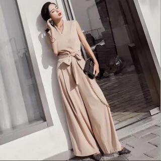 ウエストリボン オールインワン ワイドパンツドレス(ロングドレス)