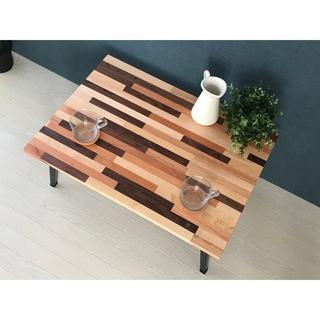 〓栄町工房〓 ミックス集成材ローテーブル 折り畳み脚 50×70×30(ローテーブル)