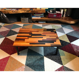 〓栄町工房〓 ミックス集成材ローテーブル 50×70×22 ご自身で脚取付け(ローテーブル)
