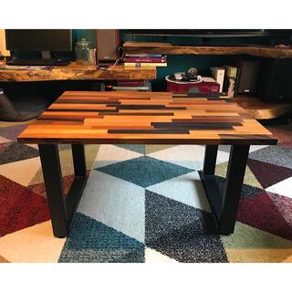 〓栄町工房〓 ミックス集成材ローテーブル アイアン脚 ご自身で脚取付け(ローテーブル)